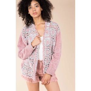 🔴 POL Pink Open Knit Chenille Sweater Cardigan